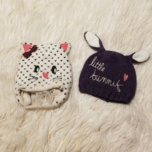 6HOUR SALE (2) 6/12m knitted bunny and kitty hat
